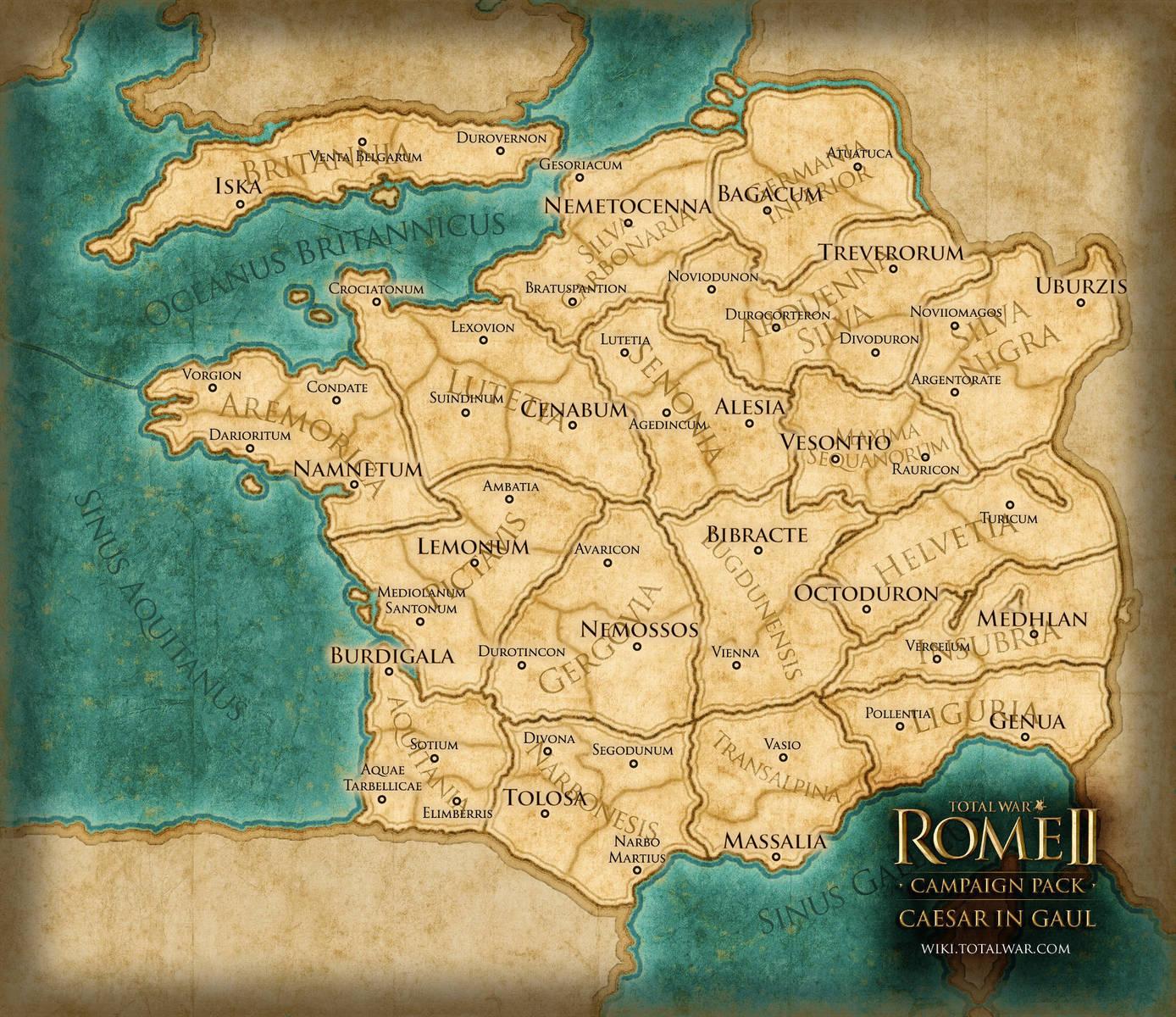 Total War ROME II Caesar In Gaul Campaign Pack Wingamestorecom - Map of rome under caesar